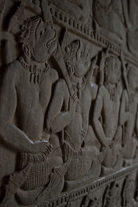 The inside of Angkor Wat was home to a very impressive amount of carvings. This is only a small close up of a gigantic wall of art. Taking photos of these made me feel like an archeologist, as if I'd dusted it off myself.