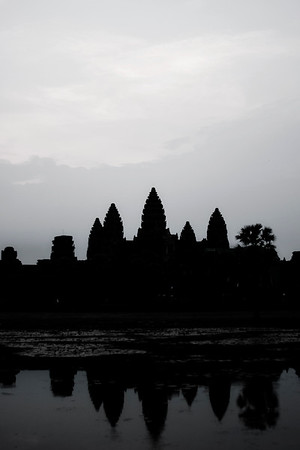 We spent sunrise at Angkor Wat, watching the day break over the world's largest religious monument, a huge Hindu temple. It's also a symbol of Cambodia, and Khmer architecture at it's finest. You can get more information on the details of Angkor Wat on  wikipedia.