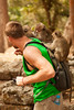 Monkeys fight for position and thievery rights on Eric's shoulders.