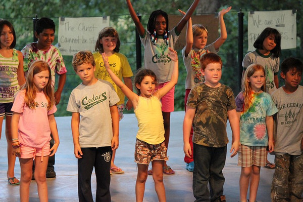 "Preston and the younger campers perform ""The Bare Necessities"" during the Talent Show."