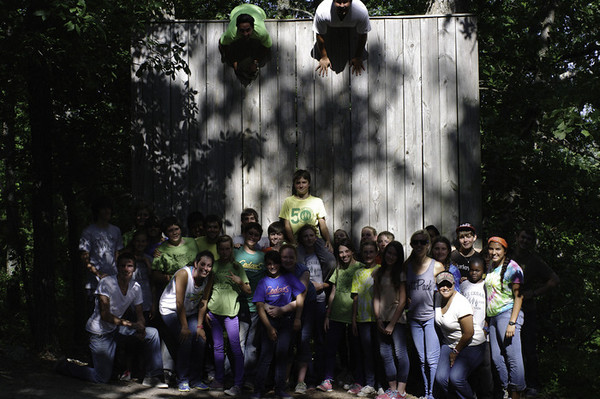 The CIP group does The Wall on Sunday, July 14.  Elijah is in the back on the left.