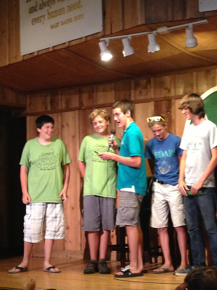 Mason gives Elijah his quality award...lots of laughs as Elijah spoke Meow a lot in the cabin.