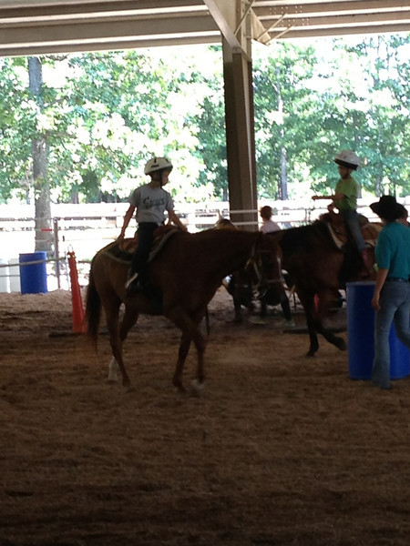 Preston riding Skippy during the horse show.
