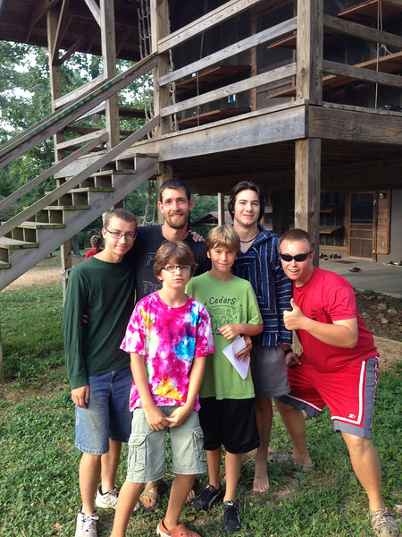 Evan and Josh with their counselors:  Gage, Mickey, Josh, and Stephen (not pictured is Sean who was with the cabin for the first week).