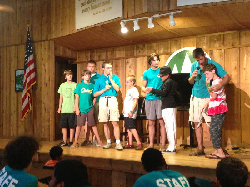 The Explorers and counselors.  Mickey is giving Matthew his quality award (both on the right of the photo).