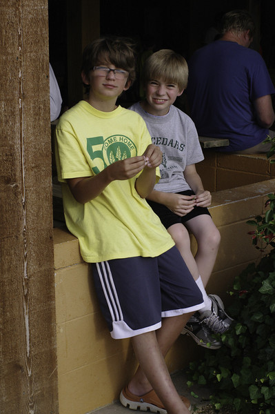 Evan and his friend, Gideon, on Sunday, July 14.