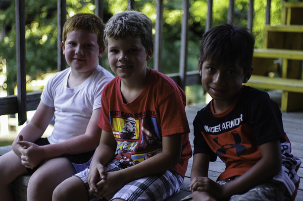 Preston and some buddies hang out during the dance on Friday evening.