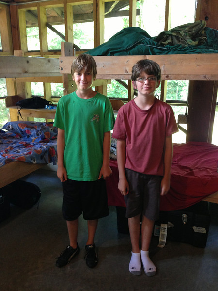 Josh and Evan in their cabin.  Josh's bed is on the left and Evan's is on the right.