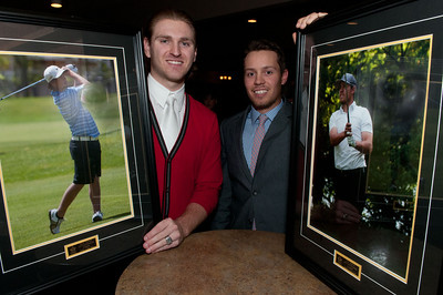 The 2013 Golf Manitoba Champions Dinner was held 21 October at Rossmere Golf Club. This year's Golfer of the Year was a dual effort for only the second time in its history - Aaron Cockerill of Teulon and Josh Wytinck of Pine Ridge. Aaron was unable to accept the trophy so his caddy Kyle Kelpin accepted it on his behalf.