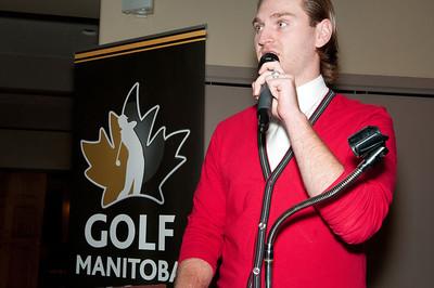 Kyle Kelpin accepting Golfer of the Year Award on behalf of Aaron Cockerill