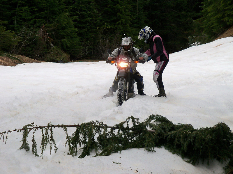 Sylvia let Scott ride her bike thru the snow drift, bad idea..!