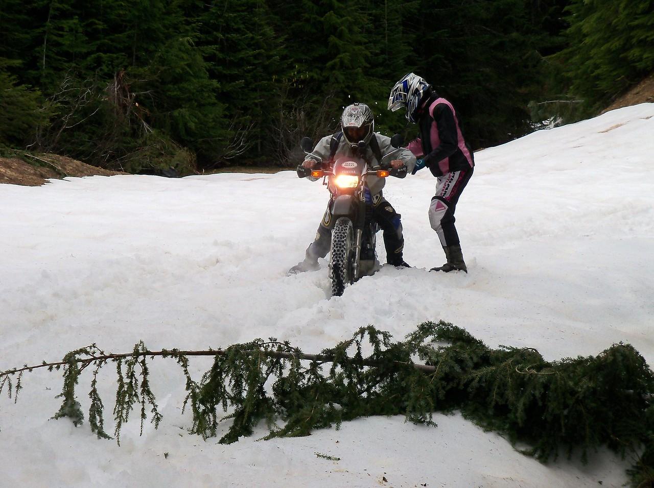 Sylvia let Scott ride her bike thru the snow drift, bad idea..!