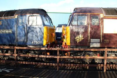 47501 'Craftsman' 47853 'Rail Express' and 47832 'Solway Princess'  Crewe Gresty Bridge.