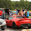 Some friends chatting in the parking lot at the June Fourth Friday Cruise Night<br /> Photo by Sam Feinstein for NJMP