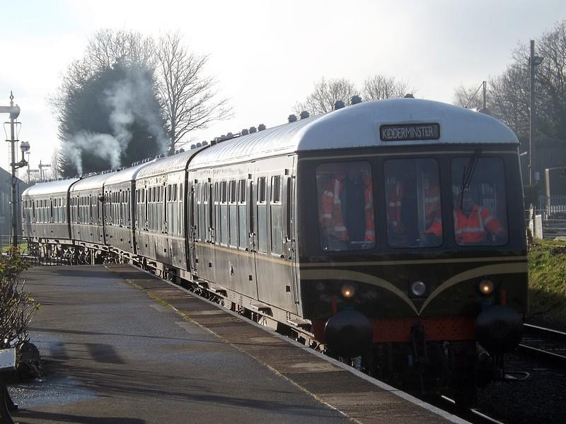 The Class 108 DMU set arrives into Kidderminster.