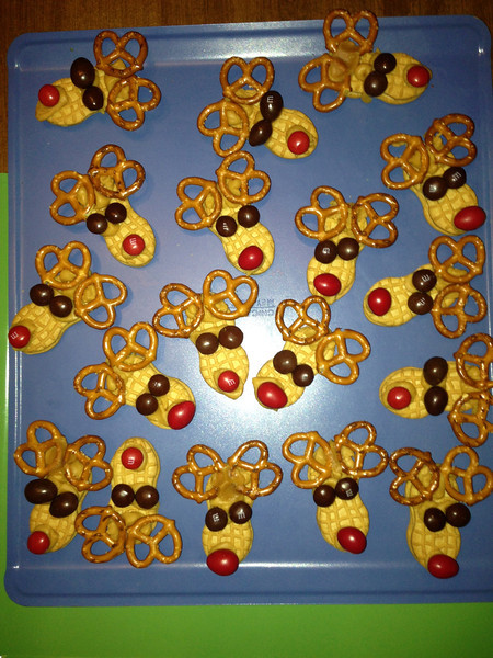 Run Run Rudolph cookies ( What Gracie has been calling Rudolph the reindeer)