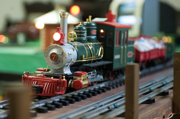 131126 Pendelton Trains JOED VIERA/STAFF PHOTOGRAPHER Lockport, NY- A model train runs on its tracks at the Pendleton Historical Society on Tuesday Nov 26th, 2013.