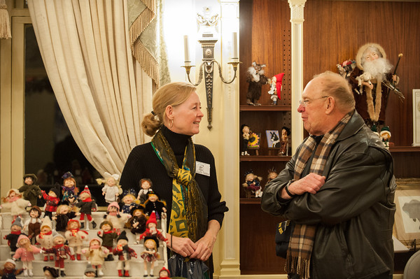 131122 Kenan art show JOED VIERA/STAFF PHOTOGRAPHER Lockport, NY-Elizabeth Cooper and Dave Greenfield chat about Coopers figurines on Thursday Nov 22nd, 2013.
