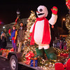 "131130 Parade JOED VIERA/STAFF PHOTOGRAPHER Lockport, NY-Frosty the Snowman waves at the crowd while atop a float at this years Christmas on the Canal ""Parade in the Dark"" on Saturday Nov 30th, 2013."