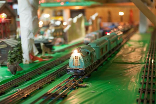 131126 Pendelton Trains JOED VIERA/STAFF PHOTOGRAPHER Lockport, NY- A model train runs on its tracks past miniature scenery at the Pendleton Historical Society on Tuesday Nov 26th, 2013.
