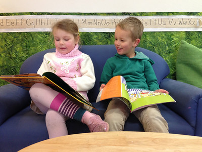Connor at preschool with his buddy, Sophia