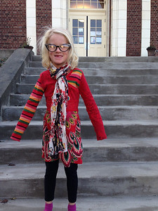 """Amelia heading to school on """"dress like a principal"""" day."""