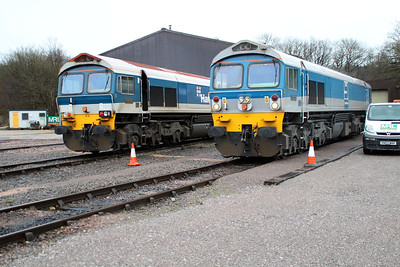 59102 'Village of Chantry' & 59002 'Alan J Day' outside Merehead Depot.
