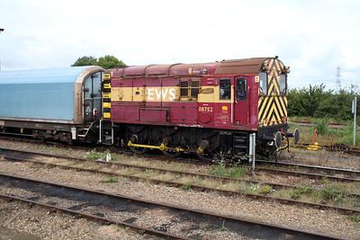 08752 shunts STVA wagon 85704971009-1 around the yard.