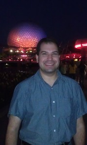 Craig in front of Spaceship Earth at Epcot