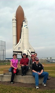 Jenny (l), Craig, Elissa, Jane, and Joseph, with a model of the Space Shuttle outside Space Coast Stadium