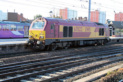 67022 passes Doncaster at 0732 from Doncaster Carr to Doncaster West Yard.