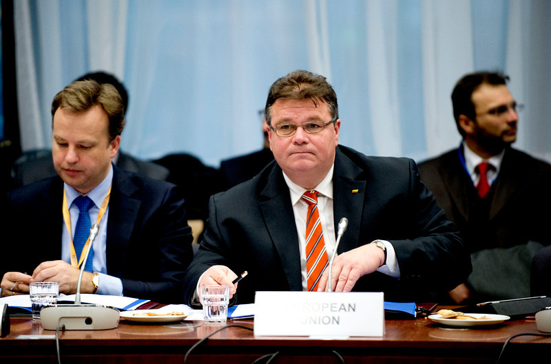 The EEA Council 19 November 2013; From left:  Raimundas Karoblis, Ambassador,  Permanent Representation of Lithuania to the EU; Linas Linkevičius, Minister of Foreign Affairs, Lithuania  (Photo: Council of European Union)