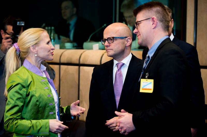 The EEA Council 19 November 2013; From left: Aurelia Frick, Minister of Foreign Affairs, Liechtenstein; Vidar Helgesen, Minister of EEA and EU Affairs, Norway; Gunnar Bragi Sveinsson, Minister for Foreign Affairs, Iceland (Photo: Council of European Union)