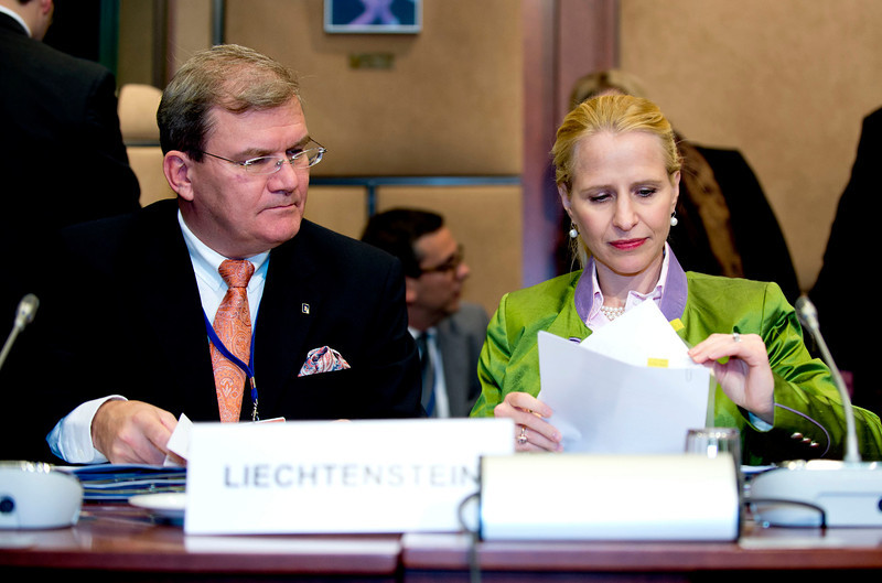 The EEA Council 19 November 2013; From left: Kurt Jäger, Ambassador, Mission of Liechtenstein to the EU; Aurelia Frick, Minister of Foreign Affairs, Liechtenstein; d (Photo: Council of European Union)