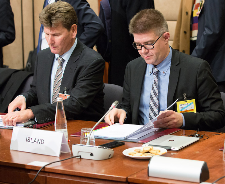 The EEA Council 19 November 2013; From left:  Thórir Ibsen, Ambassador, Head of Mission of Iceland to the EU; Gunnar Bragi Sveinsson, Minister for Foreign Affairs, Iceland (Photo: EFTA)
