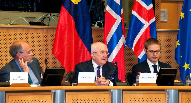 29 May 2013.  From left: Svein Roald Hansen (MP, Labour Party, Norway); Pat the Cope Gallagher (MEP, ALDE, Ireland), Vice-President of EEA JPC; Tarvo Kungla, Secretary of EEA JPC