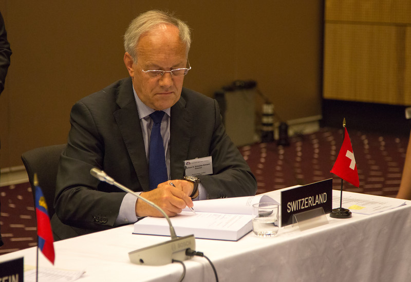 Johann N. Schneider-Ammann, Federal Councillor, Head of the Federal Department of Economic Affairs, Education and Research, Switzerland, signing the Free Trade Agreement with Bosnia and Herzegovina.