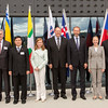 From left: Richardo Quijano, Minister of Trade and Industry, Panama; Mirko Šarović, Minister of Foreign Trade and Economic Relations, Bosnia and Herzegovina; Pwint San, Deputy Minister of Commerce, Myanmar; Anabel Gonzalez, Ministry of Foreign Trade, Costa Rica; Kristin F. Árnasson, Secretary-General, EFTA; Trond Giske, Minister of Trade and Industry, Norway; Aurelia Frick, Minister of Foreign Affairs, Liechtenstein; Gunnar Bragi Sveinsson, Minister for Foreign Affairs and External Trade, Iceland; and Johann N. Schneider-Amman, Federal Councillor, Head of the Federal Department of Economic Affairs, Education and Research.