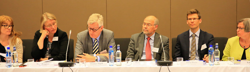 From left: Helga Jónsdóttir (Vice Chair, EFTA Consultative Committee), Icelandic Federation of State and Municipal Employees; Trine Berggren, EFTA Secretariat; Thomas Angell (Chair of the EFTA Consultative Committee), Federation of Norwegian Commercial and Service Enterprises; Svein Roald Hansen, (Acting Chair, EFTA Parliamentary Committee), Labour Party, Norwegian Parliament; Einar Ekern, EFTA Secretariat; Laila Dåvøy,  Christian Democratic Party, Norwegian Parliament
