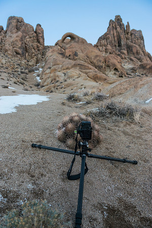 When we finally made it to the Alabama Hills we stopped at the Eye of Alabama to photograph it with a barrel cactus in front. There was only room for 1 camera, to be in the right position, so Willie's camera was used because he setup first and hogged the space. Here's a photo of the setup