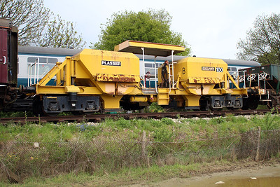 Ex Doklands Light Railway Motorised Ballast Hopper PO100 in North Weald Sidings.