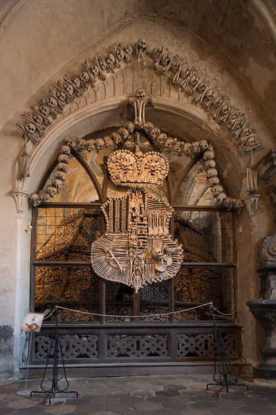 Coat of Arms made of human bones.<br /> <br /> Sedlec Ossuary, Kutna Hora, Czech Republic