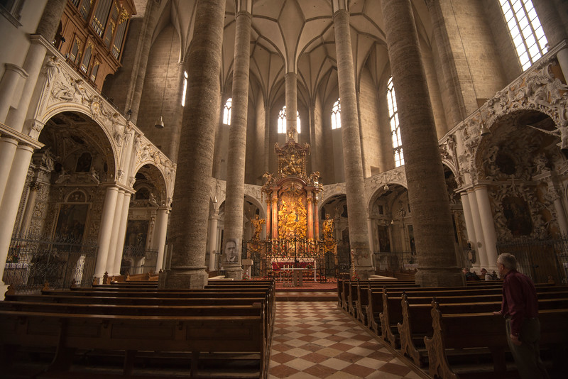 Inside the Franziskaner Kirche in Salzburg