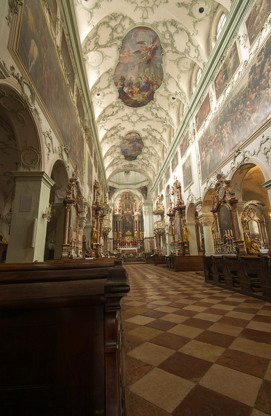 Inside the St. Peters church in Salzburg