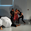 "Stephano<br /> <br /> Rehearsal photo from ""dream caliban"" with Monique Alfonso (L), Maria Russo (C), and Maddie Brady (R)."