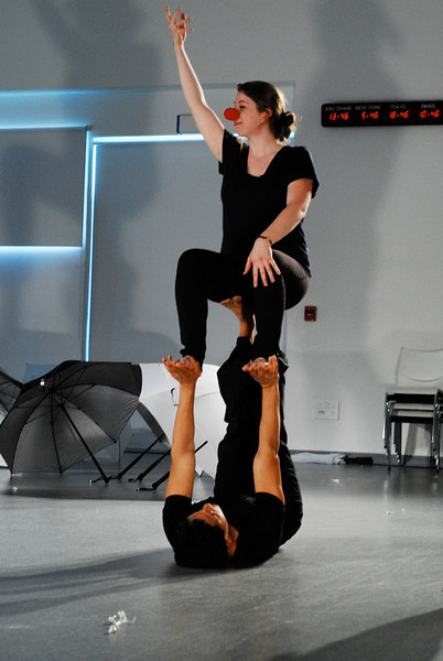 "Throne II<br /> <br /> Jo Ramirez holding up Maddie Brady in rehearsal for ""dream caliban""."
