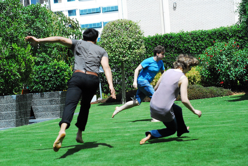 Tag<br /> <br /> Jo Ramirez (L), Mike Walsh (C, NYU Gallatin), and Amelia Dornbush (R) fly through in NYUAD garden in a raucous game of tag.