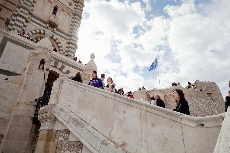 Bryn Mawr College students on 360° class study tour, Notre Dame de la Garde, Marseille, France, 10 March 2013