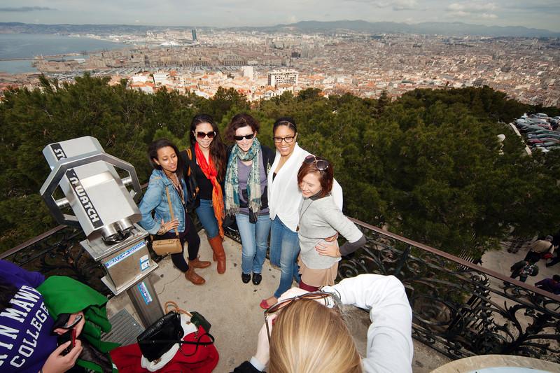 Bryn Mawr College students on 360° class study tour, Notre Dame de la Garde, Marseille, France, 10 March 2013; yoseloff 360