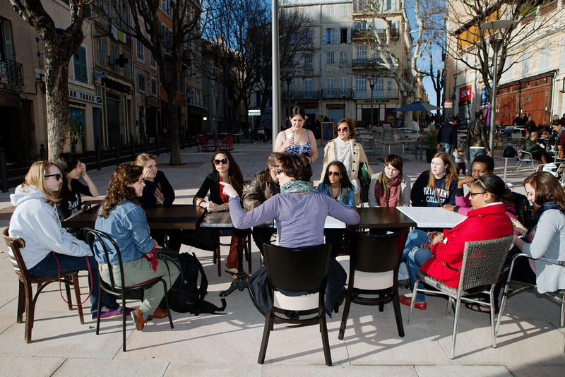 Bryn Mawr College students on 360° class study tour with documentary film-maker Olivier Poli, La Place de Lanche, Marseille, France, 10 March 2013